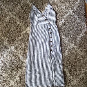 Urban Outfitters Linen Blend Button Striped Dress